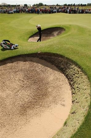 LYTHAM ST ANNES, ENGLAND - AUGUST 01:  Giulia Sergas of Italy hits out of a bunker on the 12th hole during the third round of the 2009 Ricoh Women's British Open Championship held at Royal Lytham St Annes Golf Club, on August 1, 2009 in Lytham St Annes, England.  (Photo by Warren Little/Getty Images)