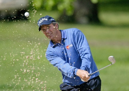 Jerry Pate hits out of a green side bunker on the 6th hole during the third round of The 66th Senior PGA Championship at Laurel Valley CC, Ligonier, Pa. , May 28th, 2005Photo by Hunter Martin/WireImage.com