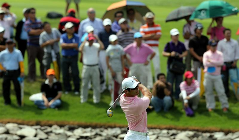 CHONBURI, THAILAND - NOVEMBER 08: Paul Casey of England plays a shot on the 2nd hole during the World Golf Salutes King Bhumibol Skins tournament at Amata Spring Country Club on November 8, 2010 in Bangkok, Thailand. (Photo by Stanley Chou/Getty Images)