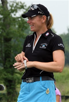 HAVRE DE GRACE, MD - JUNE 04:  Annika Sorenstam of Sweden puts on her watch after finishing her session working on the putting green during practice for the 2008 McDonald's LPGA Championship held at Bulle Rock Golf Course, on June 4, 2008 in Havre de Grace, Maryland.  (Photo by David Cannon/Getty Images)