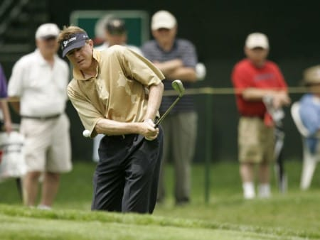 Mark Lye on the 18th hole during the first round of the Commerce Bank Championship being held at the Eisenhower Park Red Course in East Meadow, New York on Friday July 1, 2005.Photo by Mike Ehrmann/WireImage.com
