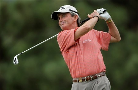 COLORADO SPRINGS, CO - AUGUST 03:  Mark McNulty of Ireland watches his tee shot on the 12th hole during the final round as he finished third in the 2008 US Senior Open Championship at the Broadmoor on August 3, 2008 in Colorado Springs, Colorado.  (Photo by Doug Pensinger/Getty Images)