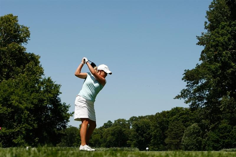 BETHLEHEM, PA - JULY 12:  Cristie Kerr hits her tee shot on the 5th hole during the final round of the 2009 U.S. Women's Open at Saucon Valley Country Club on July 12, 2009 in Bethlehem, Pennsylvania.  (Photo by Streeter Lecka/Getty Images)