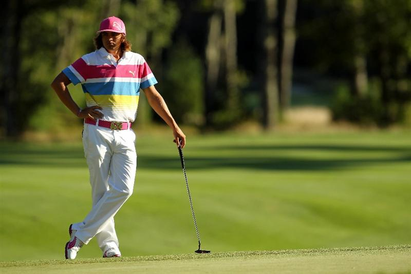 NORTON, MA - SEPTEMBER 04:  Rickie Fowler looks on from the seventh hole during the second round of the Deutsche Bank Championship at TPC Boston on September 4, 2010 in Norton, Massachusetts.  (Photo by Mike Ehrmann/Getty Images)