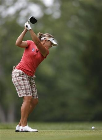 SYLVANIA, OH - JULY 03: Angela Stanford hits her tee shot on the 16th hole during the second round of the Jamie Farr Owens Corning Classic at Highland Hills Golf Club on July 3, 2009 in Sylvania, Ohio. (Photo by Gregory Shamus/Getty Images)