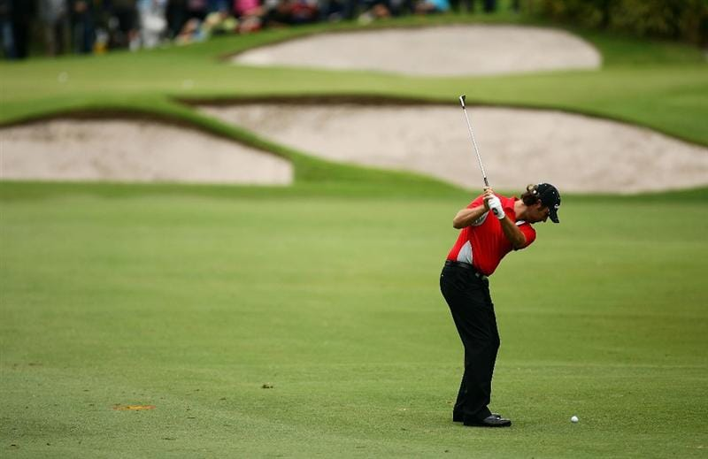 SYDNEY, AUSTRALIA - DECEMBER 11:  Mathew Goggin plays an approach shot during the first round of the 2008 Australian Open at The Royal Sydney Golf Club on December 11, 2008 in Sydney, Australia.  (Photo by Matt King/Getty Images)