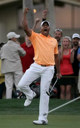 LA QUINTA, CA - JANUARY 23:  Jhonattan Vegas of Venezuela reacts after making the winning putt on the second playoff hole during the final round of the Bob Hope Classic on the Palmer Private Course at PGA West on January 23, 2011 in La Quinta, California.  (Photo by Stephen Dunn/Getty Images)