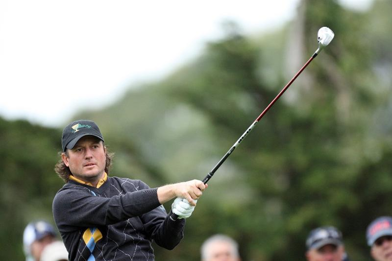 SAN FRANCISCO - OCTOBER 11:  Tim Clark of South Africa and the International Team on the 2nd hole during the Day Four Singles Matches in The Presidents Cup at Harding Park Golf Course on October 11, 2009 in San Francisco, California  (Photo by David Cannon/Getty Images)