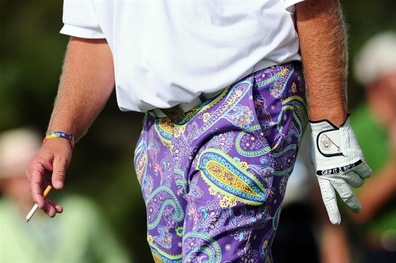 CHASKA, MN - AUGUST 13:  John Daly walks off the eighth tee during the first round of the 91st PGA Championship at Hazeltine National Golf Club on August 13, 2009 in Chaska, Minnesota.  (Photo by Stuart Franklin/Getty Images)