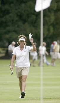 Rosie Jones smiles after getting an eagle on the fifth hole during the final round of the 2005 Safeway Classic at Columbia Edgewater Country Club in Portland, Oregon on Sunday,  August 21, 2005.Photo by Allan Campbell/WireImage.com