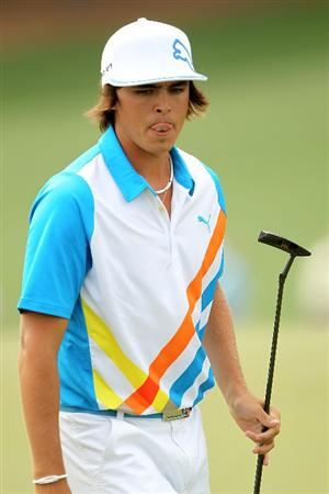 AUGUSTA, GA - APRIL 08:  Rickie Fowler walks across the ninth green during the second round of the 2011 Masters Tournament at Augusta National Golf Club on April 8, 2011 in Augusta, Georgia.  (Photo by Jamie Squire/Getty Images)