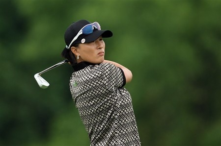 HAVRE DE GRACE, MD - JUNE 05: Se Ri Pak of South Korea tees off at the par 3, 7th hole during the first round of the 2008 McDonald's LPGA Championship held at Bulle Rock Golf Course, on June 5, 2008 in Havre de Grace, Maryland.  (Photo by David Cannon/Getty Images)