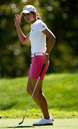 DANVILLE, CA - SEPTEMBER 24:  Lorena Ochoa of Mexico tees off on the 7th hole during the first round of the CVS/pharmacy LPGA Challenge at Blackhawk Country Club on September 24, 2009 in Danville, California.  (Photo by Jonathan Ferrey/Getty Images)