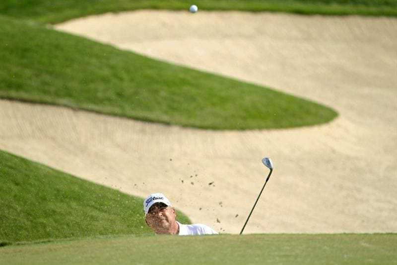 LOUISVILLE, KY - MAY 29:  David Eger hits his third shot on the par 5 18th hole during the Senior PGA Championship presented by KitchenAid at Valhalla Golf Club on May 29, 2011 in Louisville, Kentucky.  He lost in a one hole playoff to Tom Watson .  (Photo by Andy Lyons/Getty Images)