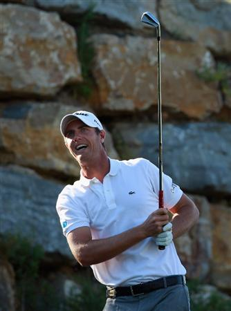 CASARES, SPAIN - MAY 22:  Nicolas Colsaerts of Belgium hits his tee-shot on the second hole during the semi final of the Volvo World Match Play Championship at Finca Cortesin on May 22, 2011 in Casares, Spain.  (Photo by Andrew Redington/Getty Images)