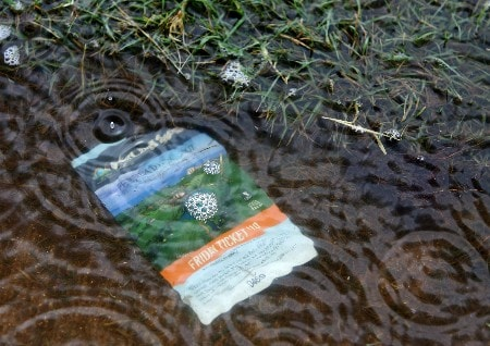 KAPOLEI, HI - FEBRUARY 23:  A second round badge washes up in the rain that caused a delay in play during the second round of the Fields Open at Ko Olina Golf Club on February 23, 2007 in Kapolei, Hawaii.  (Photo by Harry How/Getty Images)