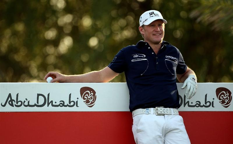 ABU DHABI, UNITED ARAB EMIRATES - JANUARY 21:  Jamie Donaldson of Wales waits to tee off on the ninth hole during the first round of The Abu Dhabi Golf Championship at Abu Dhabi Golf Club on January 21, 2010 in Abu Dhabi, United Arab Emirates.  (Photo by Andrew Redington/Getty Images)
