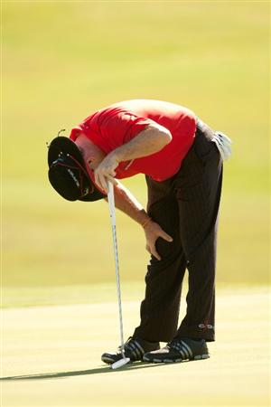 IRVING, TX - MAY 26: Rory Sabbatini reacts to a missed putt during the first round of the HP Byron Nelson Championship at TPC at Las Colinas on May 26, 2011 in Irving, Texas. (Photo by Darren Carroll/Getty Images)