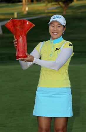 CARLSBAD, CA - MARCH 28:  Hee Kyung Seo of South Korea holds up the trophy after the final round of the Kia Classic Presented by J Golf at La Costa Resort and Spa on March 28, 2010 in Carlsbad, California.  (Photo by Stephen Dunn/Getty Images)