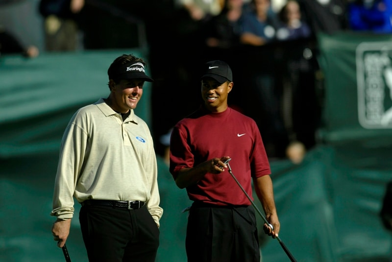 Phil Mickelson and Tiger Woods at the 2003 Buick Invitational