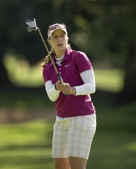 PORTLAND, OR - AUGUST 22: Paige Mackenzie reacts to missing birdie putt at the 10th hole, during the first round of LPGA Safeway Classic at the Columbia Edgewater Country Club on August 22, 2008 in Portland, Oregon. (Photo by Steven Gibbons/Getty Images)