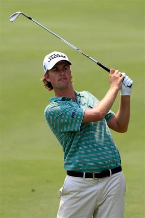 PONTE VEDRA BEACH, FL - MAY 10:  Webb Simpson hits a shot during a practice round prior to the start of THE PLAYERS Championship held at THE PLAYERS Stadium course at TPC Sawgrass on May 10, 2011 in Ponte Vedra Beach, Florida.  (Photo by Sam Greenwood/Getty Images)