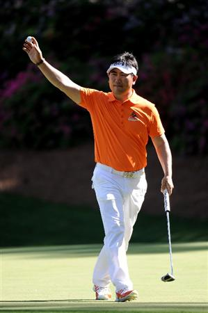 AUGUSTA, GA - APRIL 07:  Y.E. Yang of South Korea celebrates an eagle putt on the 13th green during the first round of the 2011 Masters Tournament at Augusta National Golf Club on April 7, 2011 in Augusta, Georgia.  (Photo by Harry How/Getty Images)