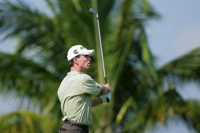 RIO GRANDE, PR - MARCH 14:  Skip Kendall hits an iron shot during the continuation of the second round of the Puerto Rico Open presented by Banco Popular at Trump International Golf Club held on March 14, 2010 in Rio Grande, Puerto Rico.  (Photo by Michael Cohen/Getty Images)