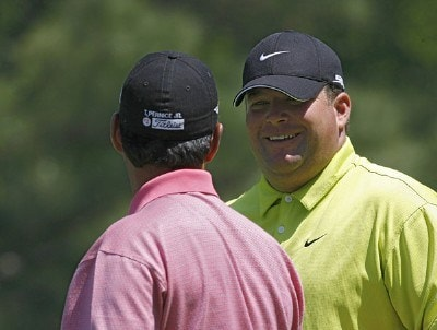 Jason Gore talks to Tom Pernice Jr. during a practice round prior to the 2006 Wachovia Championship at the Quail Hollow Club in Charlotte, North Carolina on May 2, 2006.Photo by Kevin C.  Cox/WireImage.com