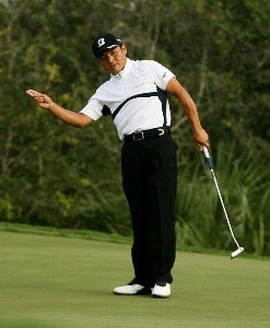 Shigeki Maruyama tries to coax a biride putt on the 18th hole that would have put him into a tie for the lead with Daniel Chopra during the final round of the Ginn Sur Mer Classic at Tesoro on October 29, 2007 in Port Saint Lucie, Florida. PGA TOUR - 2007 Ginn sur Mer Classic - Final RoundPhoto by Doug Benc/WireImage.com