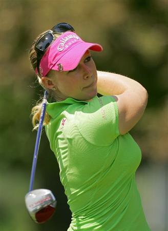 CORNING, NY - MAY 23:  Morgan Pressel of the United States watches her drive on the ninth hole during the third round of the LPGA Corning Classic at the Corning Country Club held on May 23, 2009 in Corning, New York.  (Photo by Michael Cohen/Getty Images)