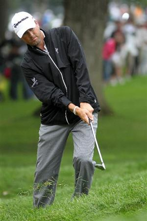 LEMONT, IL - SEPTEMBER 11:  Ryan Palmer hits the ball on the third hole during the third round of the BMW Championship at Cog Hill Golf & Country Club on September 11, 2010 in Lemont, Illinois.  (Photo by Jamie Squire/Getty Images)