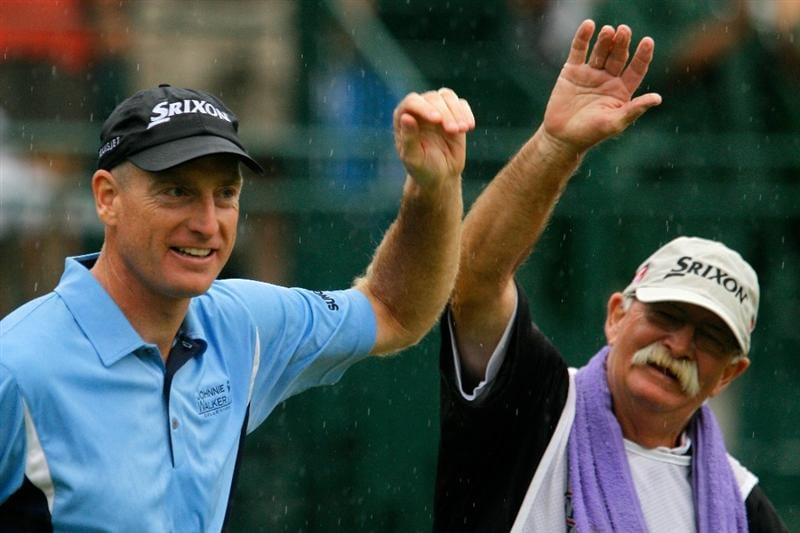 ATLANTA - SEPTEMBER 26:  (L-R) Jim Furyk and caddie Mike 'Fluff' Cowan celebrate Furyk winning the FedExCup and THE TOUR Championship presented by Coca-Cola, the final event of the PGA TOUR Playoffs for the FedExCup, at East Lake Golf Club on September 26, 2010 in Atlanta, Georgia.  (Photo by Scott Halleran/Getty Images)
