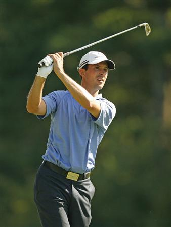 NORTON, MA - AUGUST 31: Mike Weir of Canada hits his second shot on the 10th hole during the third round of the Deutsche Bank Championship at TPC Boston on August 31, 2008 in Norton, Massachusetts. (Photo by Hunter Martin/Getty Images)
