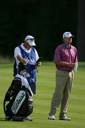 NORTON, MA - SEPTEMBER 07:  Steve Stricker prepares to play his second shot on the 10th hole during the final round of the Deutsche Bank Championship at TPC Boston held on September 7, 2009 in Norton, Massachusetts.  (Photo by Michael Cohen/Getty Images)