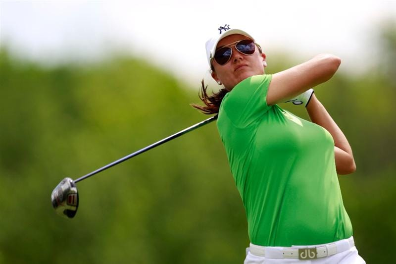 GLADSTONE, NJ - MAY 21:  Sophie Gustafson of Sweden hits her drive on the 18th tee in round three of the Sybase Match Play Championship at Hamilton Farm Golf Club on May 21, 2011 in Gladstone, New Jersey.  (Photo by Chris Trotman/Getty Images)