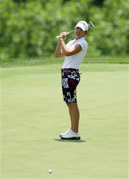 HAVRE DE GRACE, MD - JUNE 08:  Marisa Baena of Colombia just misses a birdie at the 1st hole during the final round of the 2008 McDonald's LPGA Championship held at Bulle Rock Golf Course, on June 8, 2008 in Havre de Grace, Maryland.  (Photo by David Cannon/Getty Images)