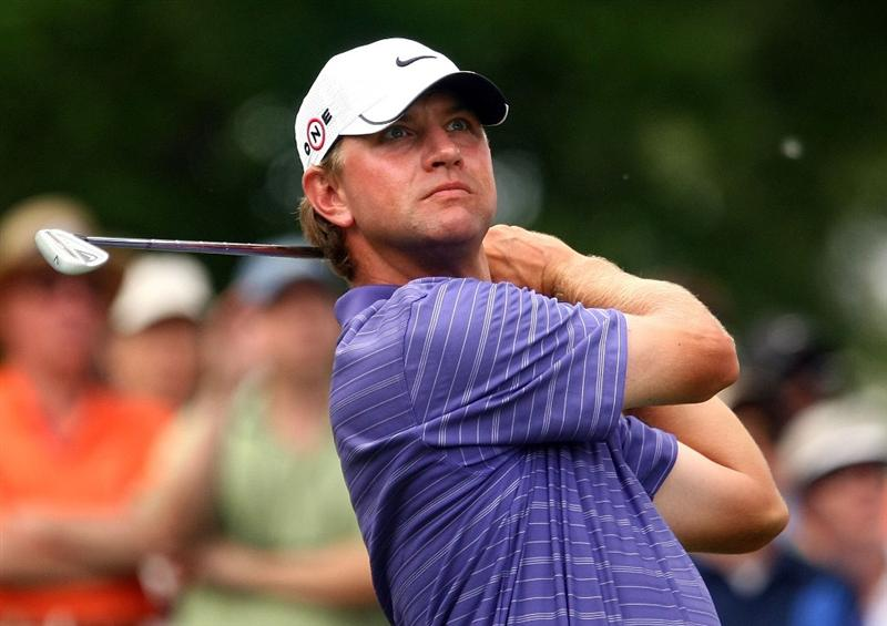 CHARLOTTE, NC - MAY 02:  Lucas Glover watches his tee shot on the 17th hole during the third round of the Quail Hollow Championship at the Quail Hollow Club on May 2, 2009 in Charlotte, North Carolina.  (Photo by Scott Halleran/Getty Images)