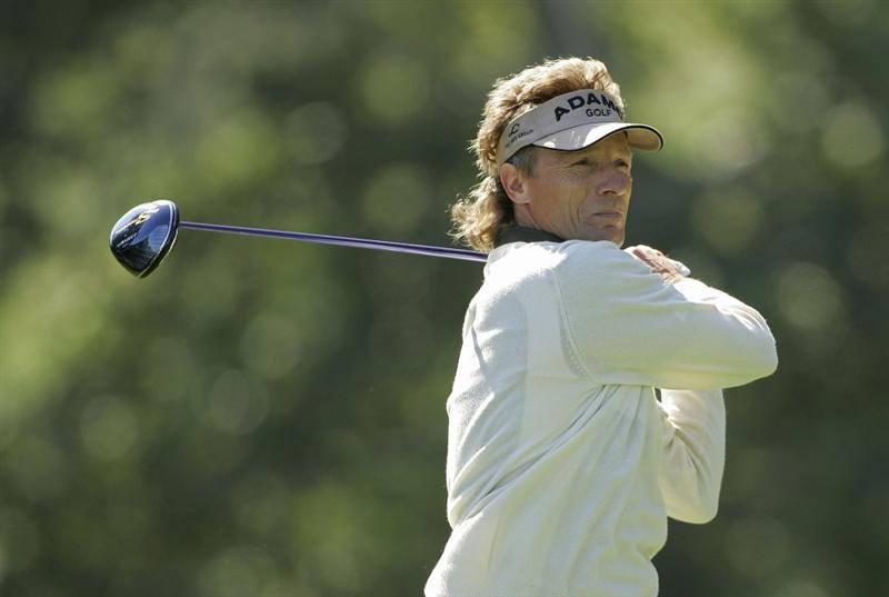 TIMONIUM, MD - OCTOBER 01:  Bernhard Langer of Germany hits a drive during the first round of the Constellation Energy Senior Players Championship at Baltimore Country Club/Five Farms (East Course) held on October 1, 2009 in Timonium, Maryland  (Photo by Michael Cohen/Getty Images)