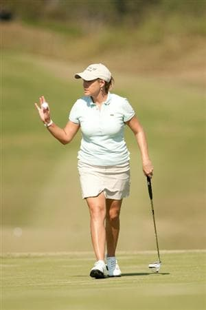 PRATTVILLE, AL - OCTOBER 9: Cristie Kerr acknowledges the gallery after a birdie putt on the ninth hole during the third round of the Navistar LPGA Classic at the Senator Course at the Robert Trent Jones Golf Trail  on October 9, 2010 in Prattville, Alabama. (Photo by Darren Carroll/Getty Images)
