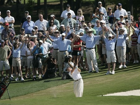 BIRMINGHAM, AL - MAY 18:  Mike Goodes hits his approach shot to the 18th green during the final round of the Regions Charity Classic at the Ross Bridge Golf Resort on May 18, 2008 in Birmingham, Alabama. (Photo by Dave Martin/Getty Images)