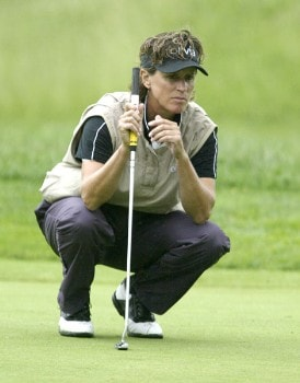 Rosie Jones lines up a putt during the first round of the 2005 Wegman's Rochester LPGA at Locust Hill Country Club in  Pittsford, New York on June 16, 2005.Photo by Michael Cohen/WireImage.com