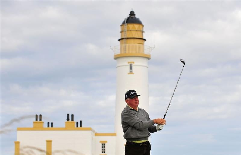 TURNBERRY, SCOTLAND - JULY 14:  Mark O'Meara of USA plays a shot in front of the lighthouse during a practice round prior to the 138th Open Championship on July 14, 2009 on the Ailsa Course, Turnberry Golf Club, Turnberry, Scotland.  (Photo by Stuart Franklin/Getty Images)