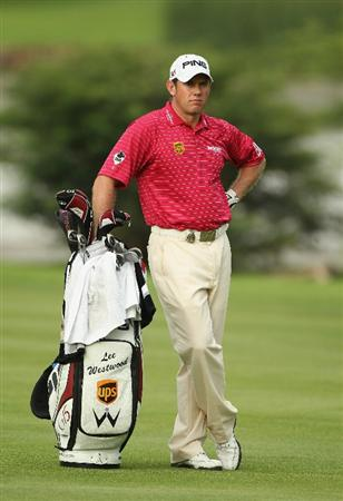SUN CITY, SOUTH AFRICA - DECEMBER 02:  Lee Westwood of England stands with his bag during the first round of the 2010 Nedbank Golf Challenge at the Gary Player Country Club Course  on December 2, 2010 in Sun City, South Africa.  (Photo by Warren Little/Getty Images)