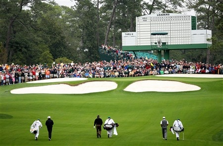AUGUSTA, GA - APRIL 07:  Richard Green of Australia, Mark O'Meara and Tiger Woods walk along the seventh fairway during the first day of practice prior to the start of the 2008 Masters Tournament at Augusta National Golf Club on April 7, 2008 in Augusta, Georgia.  (Photo by Andrew Redington/Getty Images)