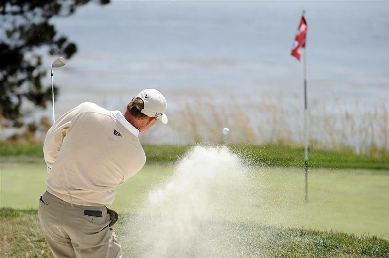 PEBBLE BEACH, CA - JUNE 20:  Ernie Els of South Africa hits a bunker shot on the fifth hole during the final round of the 110th U.S. Open at Pebble Beach Golf Links on June 20, 2010 in Pebble Beach, California.  (Photo by Harry How/Getty Images)