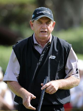 NEWPORT BEACH, CA - MARCH 05:  Nick Price of Zimbabwe reacts to his birdie putt on the fifth hole during the first round of the Toshiba Classic at the Newport Beach Country Club on March 5, 2010 in Newport Beach, California.  (Photo by Harry How/Getty Images)