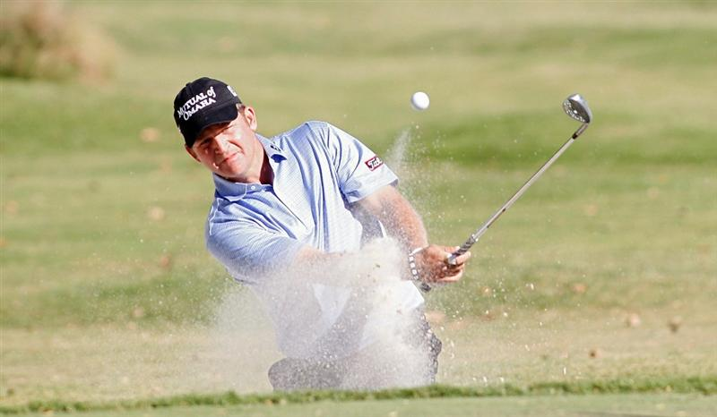 MADISON, MS - OCTOBER 03:  Jason Bohn hits his third shot on the 13th hole from a bunker during the final round of the Viking Classic held at Annandale Golf Club on October 3, 2010 in Madison, Mississippi.  (Photo by Michael Cohen/Getty Images)