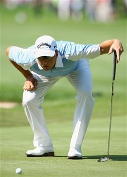 MUNICH, GERMANY - JUNE 19:  Niclas Fasth of Sweden lines up a putt on the 14th hole during the first round of The BMW International Open Golf at The Munich North Eichenried Golf Club on June 19, 2008, in Munich, Germany.  (Photo by Stuart Franklin/Getty Images)