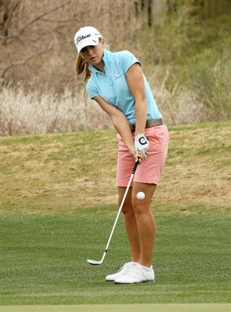 PHOENIX, AZ - MARCH 20:  Danah Bordner chips onto the green on  the seventh hole during the final round of the RR Donnelley LPGA Founders Cup at Wildfire Golf Club on March 20, 2011 in Phoenix, Arizona.  (Photo by Stephen Dunn/Getty Images)